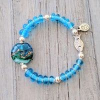 Deep Blue Sea Silver Fish Bracelet | Julie Fountain